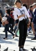 Zendaya Coleman spotted while filming a scene with birds on the set of 'Spider-Man: Far From Home' in Venice, Italy