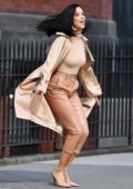 Adriana Lima sports an all beige ensemble during a photoshoot in New York City
