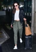 Alessandra Ambrosio spotted in a black leather jacket as she touches down at GRU airport in Sao Paulo, Brazil