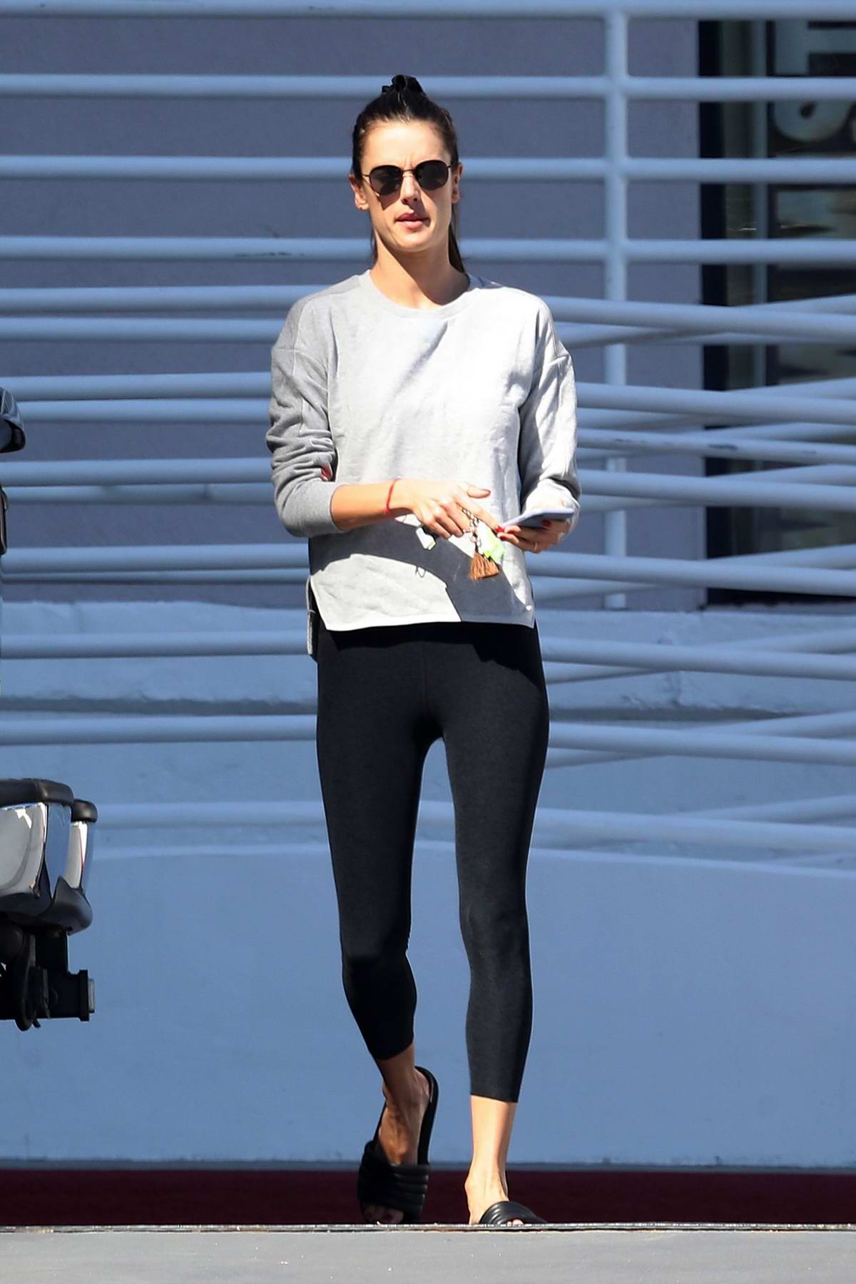 Alessandra Ambrosio stops by at Pacific Coast Sports Medicine in Brentwood, Los Angeles