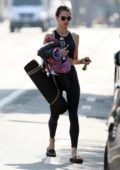 Alessandra Ambrosio strolls back to her car after a morning yoga class in Santa Monica, California