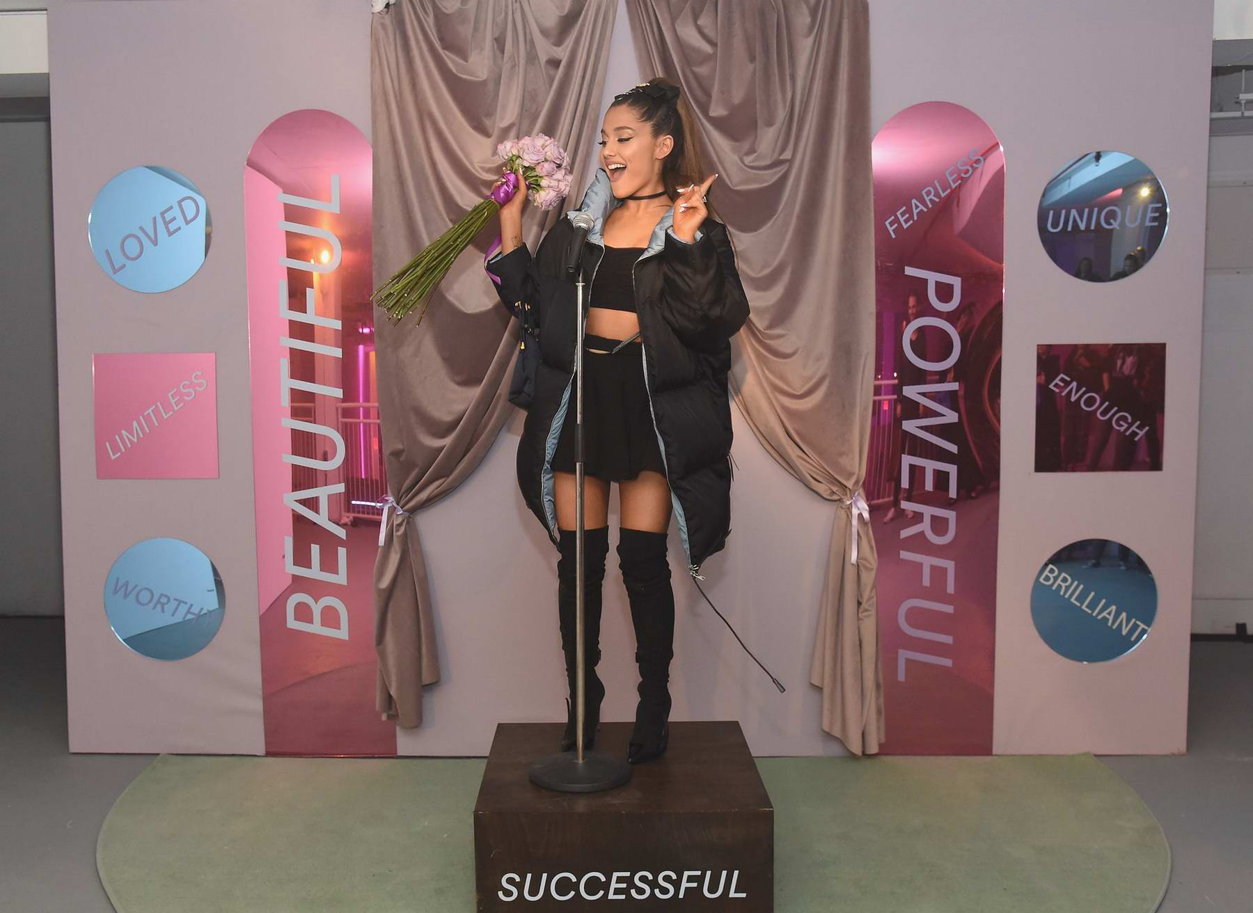 Ariana Grande at the Spotify presents 'Sweetener The Experience' pop-up in New York City
