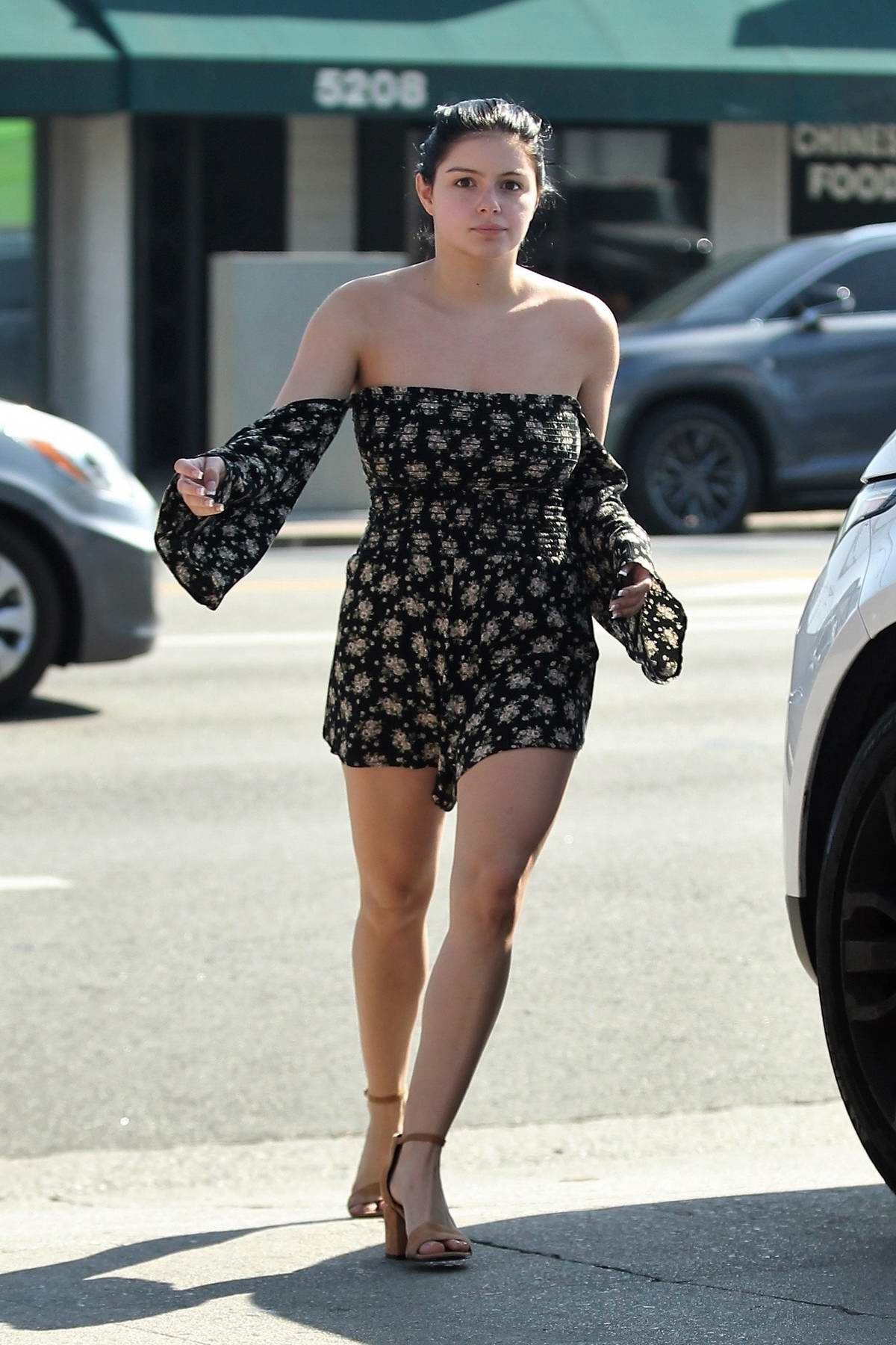 Ariel Winter seen wearing an off shoulder romper while out for a lunch date at Joan's On Third in Studio City, Los Angeles