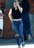 Ariel Winter wore a black crop top and jeans while stopping by at Sherman Oaks Animal Hospital and Pet Supplies in North Hollywood, Los Angeles
