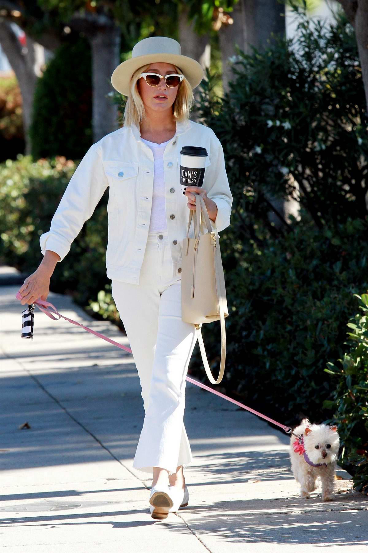 Ashley Tisdale steps out in all white as she runs errands with her dog Maui in Studio City, Los Angeles