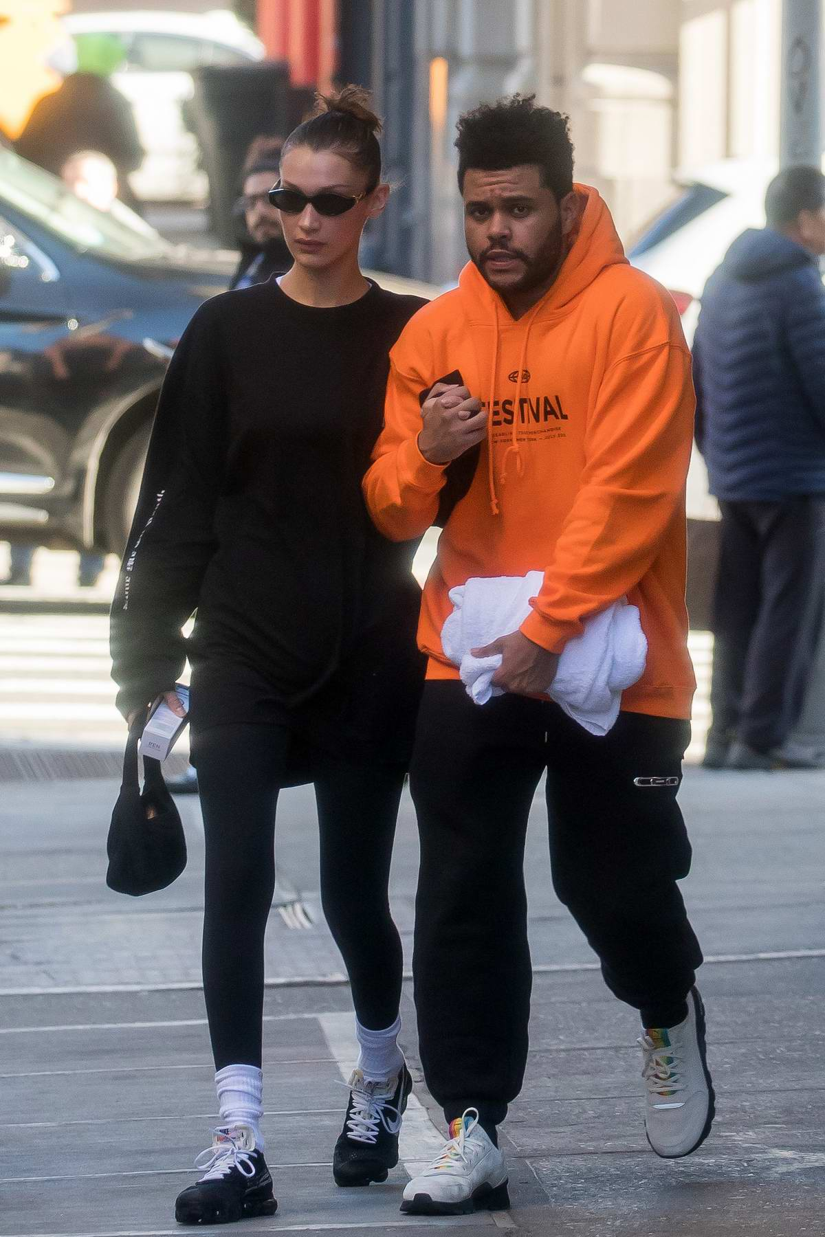Bella Hadid and The Weeknd hold each other tight on a cold day in New York City