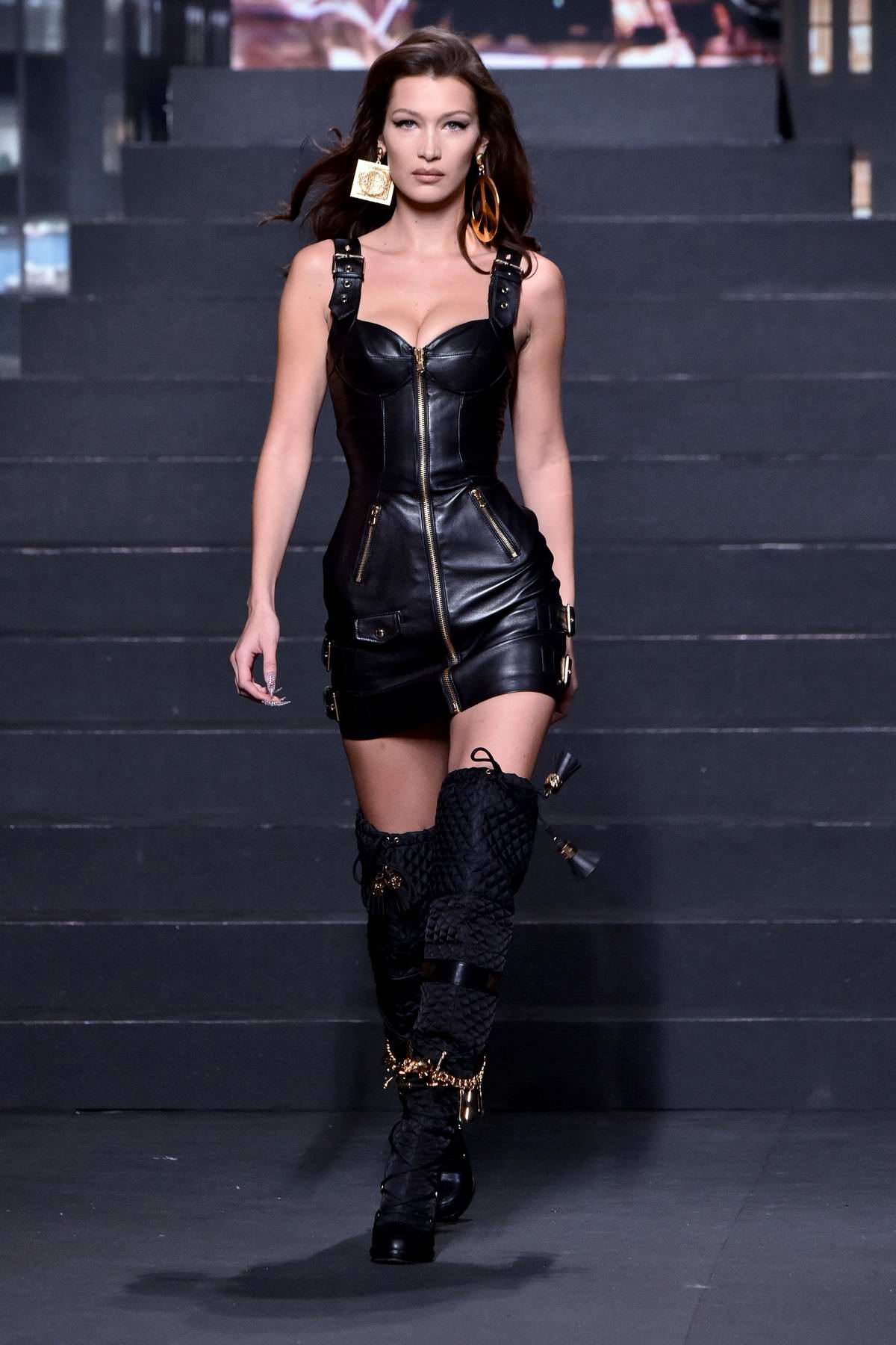 Bella Hadid walks the runway during Moschino x H&M Fashion Show in New York City