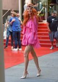 Bella Thorne looks cute in a short pink outfit with floral headband as she leaves W Hotel in Hollywood, Los Angeles
