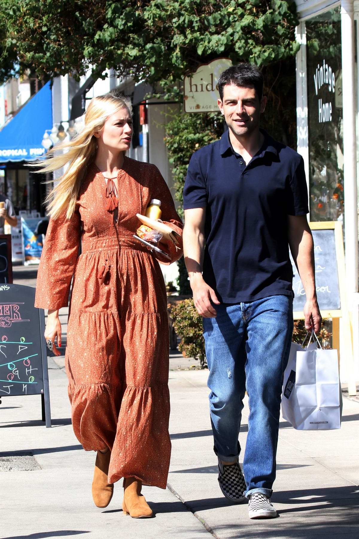 beth behrs and max greenfield heads to lunch at joan's on ...