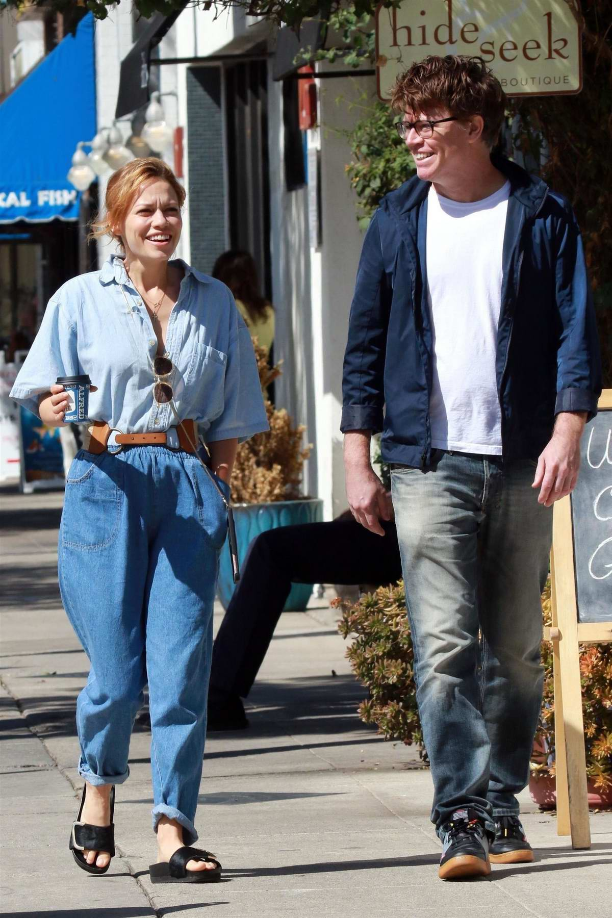 Bethany Joy Lenz grabs lunch with a friend at Joan's On Third in Studio City, los angeles