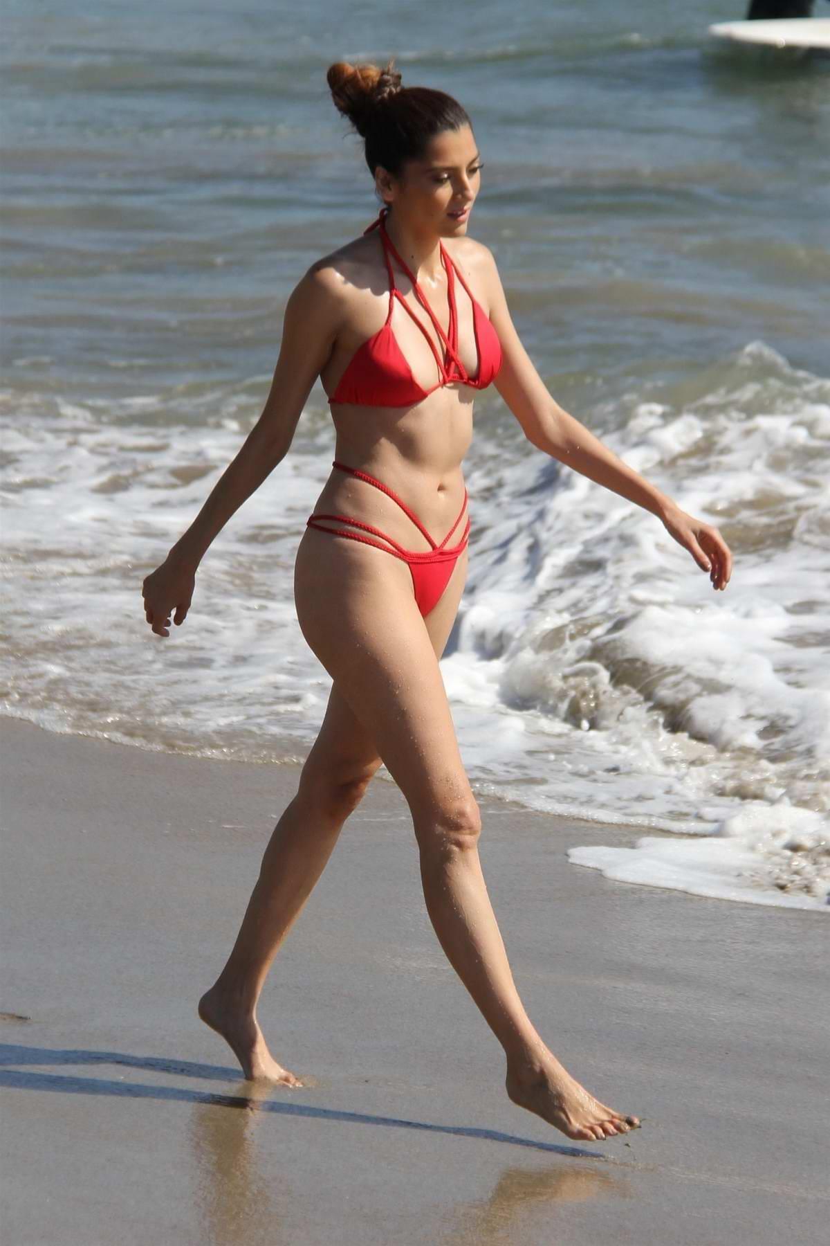 Blanca Blanco hits the beach in a red bikini in Malibu, California