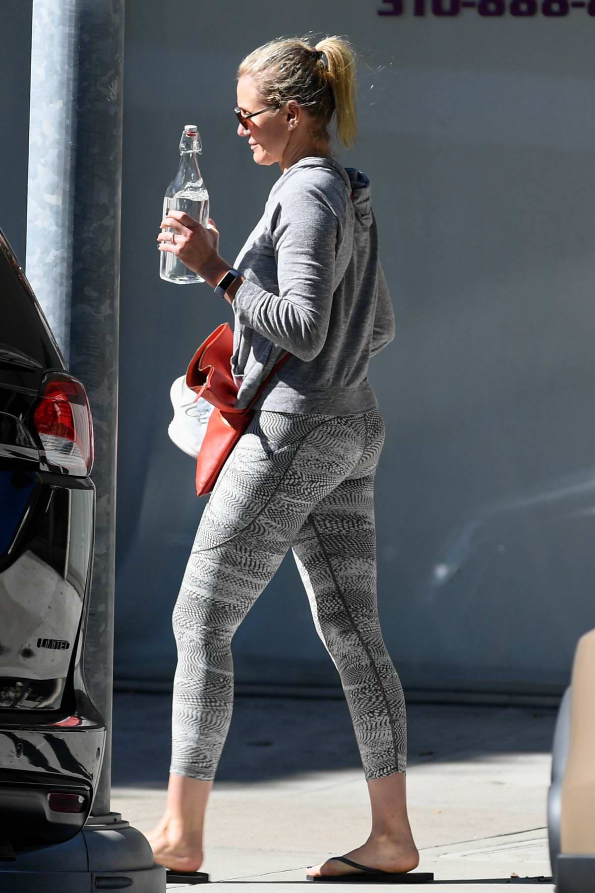Cameron Diaz stops by a nail salon after leaving the gym in Beverly Hills, Los Angeles