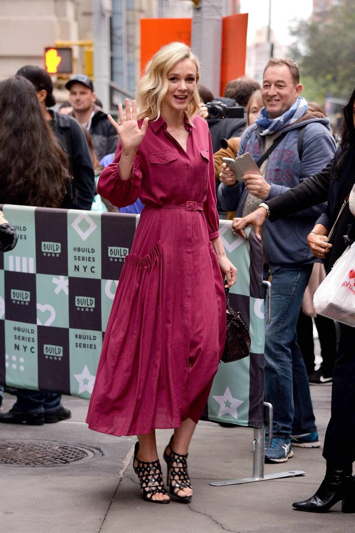 Carey Mulligan arrives to promotes her new movie 'Wildlife' at AOL Build Series in New York City