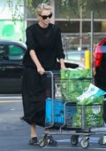 Charlize Theron stepped out in all black for some grocery shopping at Whole Foods in Los Angeles