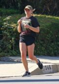 Chloe Grace Moretz spotted in a graphic tee and shorts while out for an evening run in Los Angeles