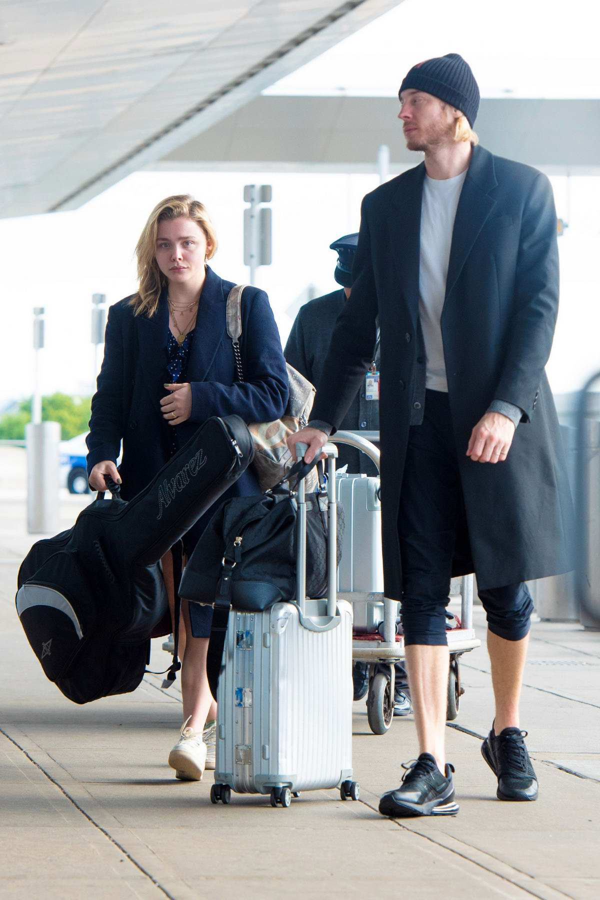 Chloe Grace Moretz spotted with her brother Trevor Duke-Moretz at JFK Airport in New York City