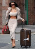 Chloe Khan spotted in a formfitting outfit as she arrives at John Lennon airport in Liverpool, UK