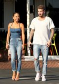 Christina Milian is all smiles as she steps out for lunch with boyfriend Matt Pokora at Fred Segal in West Hollywood, Los Angeles