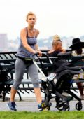Claire Danes stays in shape while power walking with her newborn baby through Hudson River Park in New York City