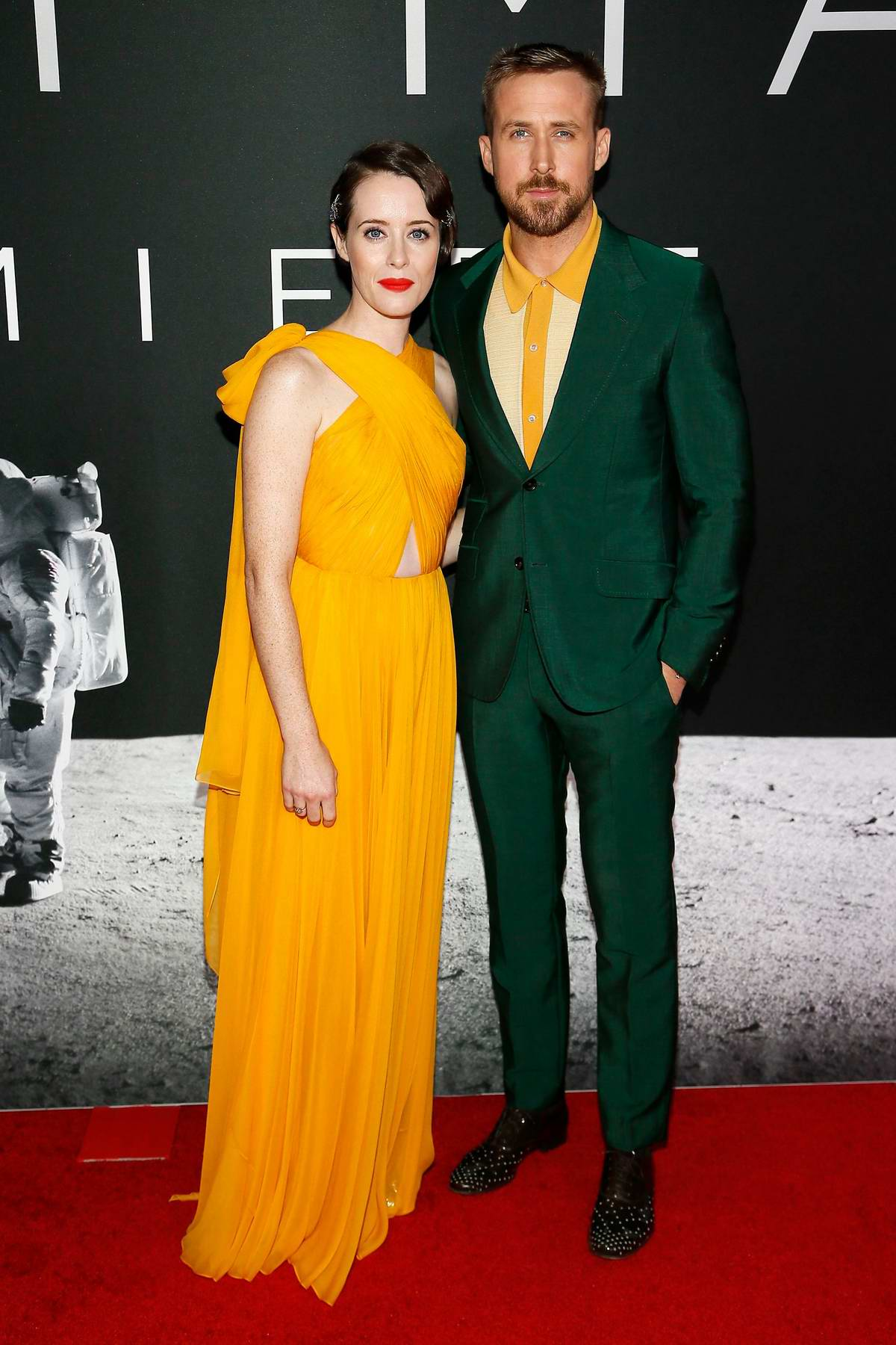 Claire Foy and Ryan Gosling attends 'First Man' Premiere at the National Air and Space Museum in Washington D.C.