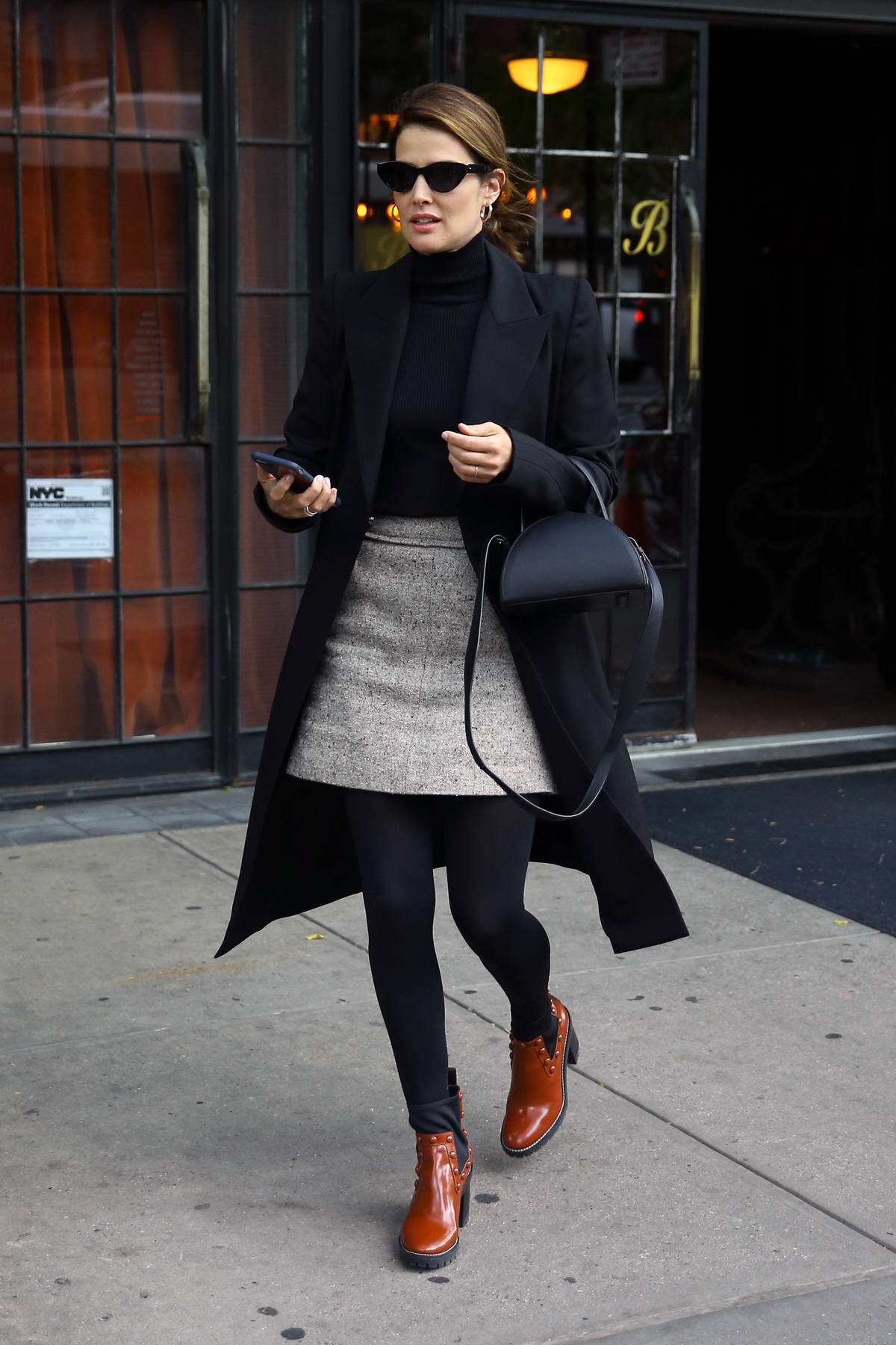 Cobie Smulders shows off her fall winter style as she leaves The Bowery Hotel in New York City