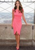 Elizabeth Hurley lights the Empire State Building in honor of Estee Lauder's 2018 breast cancer campaign in New York City