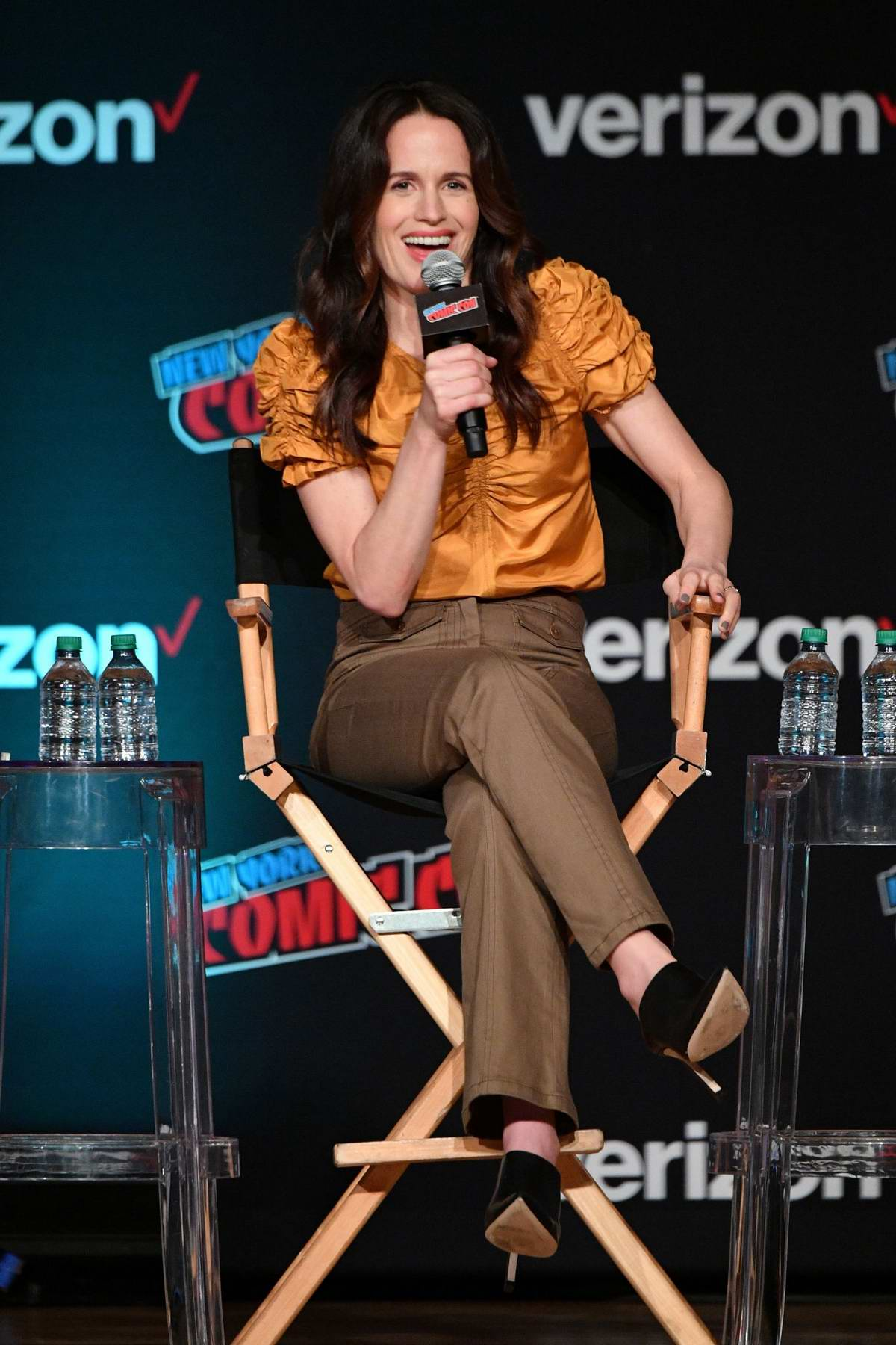 Elizabeth Reaser speaks onstage at the Netflix & Chills Panel during New York Comic Con 2018 (NYCC 2018) in New York City