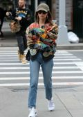 Emily Ratajkowski seen wearing a colorful patterned jacket while out on a stroll in New York City