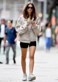 Emily Ratajkowski spotted for the first time since her arrest in Washington DC, while she stepped out for a stroll wearing a green top, denim jacket with black shorts in New York City