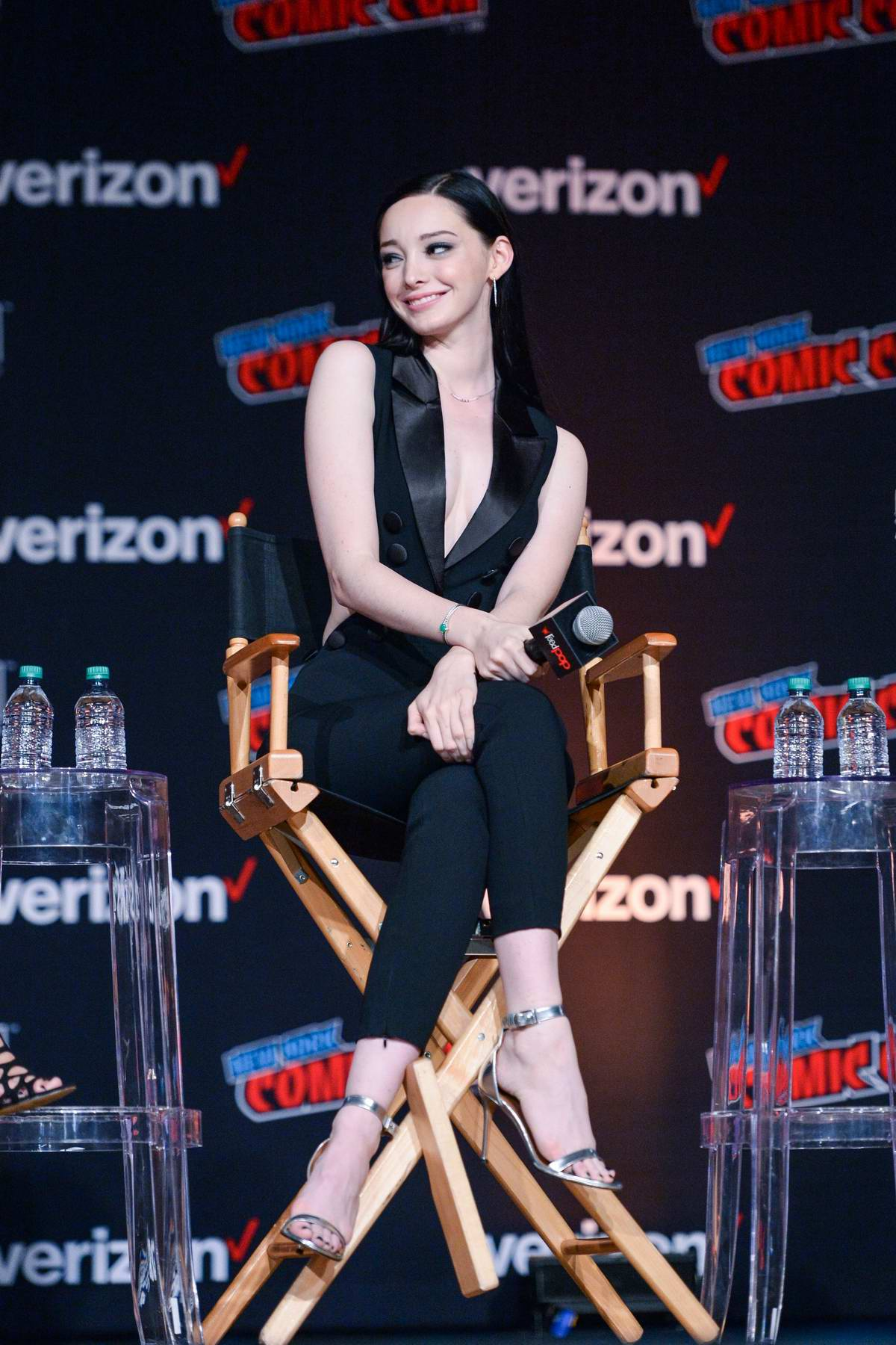 Emma Dumont attends 'The Gifted' panel during New York Comic Con 2018 (NYCC 2018) in New York City