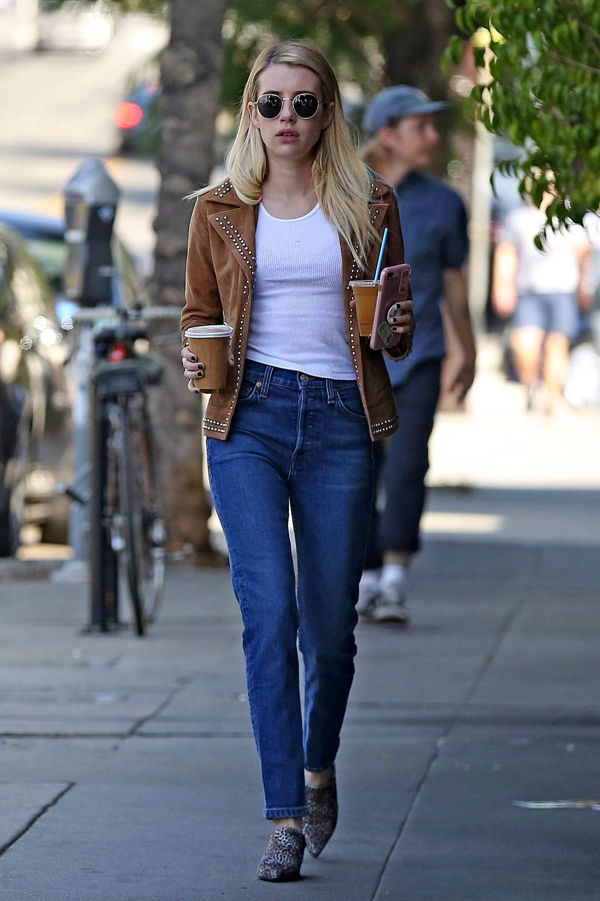Emma Roberts spotted while picking up a couple of coffees in Los Angeles