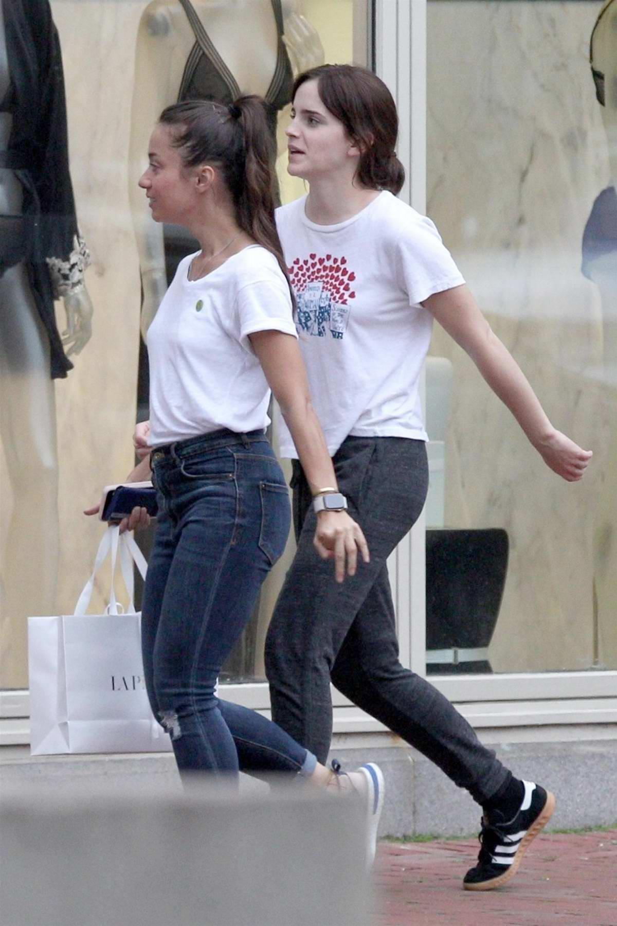 Emma Watson goes shopping at La Perla in Boston, Massachusetts