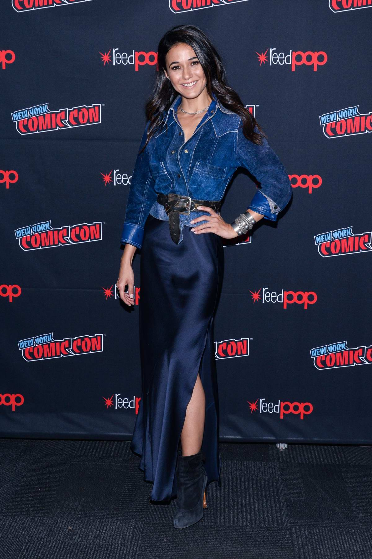 Emmanuelle Chriqui attends 'The Passage' panel during New York Comic Con 2018 (NYCC 2018) in New York City