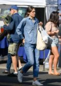 Emmy Rossum and husband Sam Esmail seen while shopping fresh produce at the Farmer's Market in Beverly Hills, Los Angeles