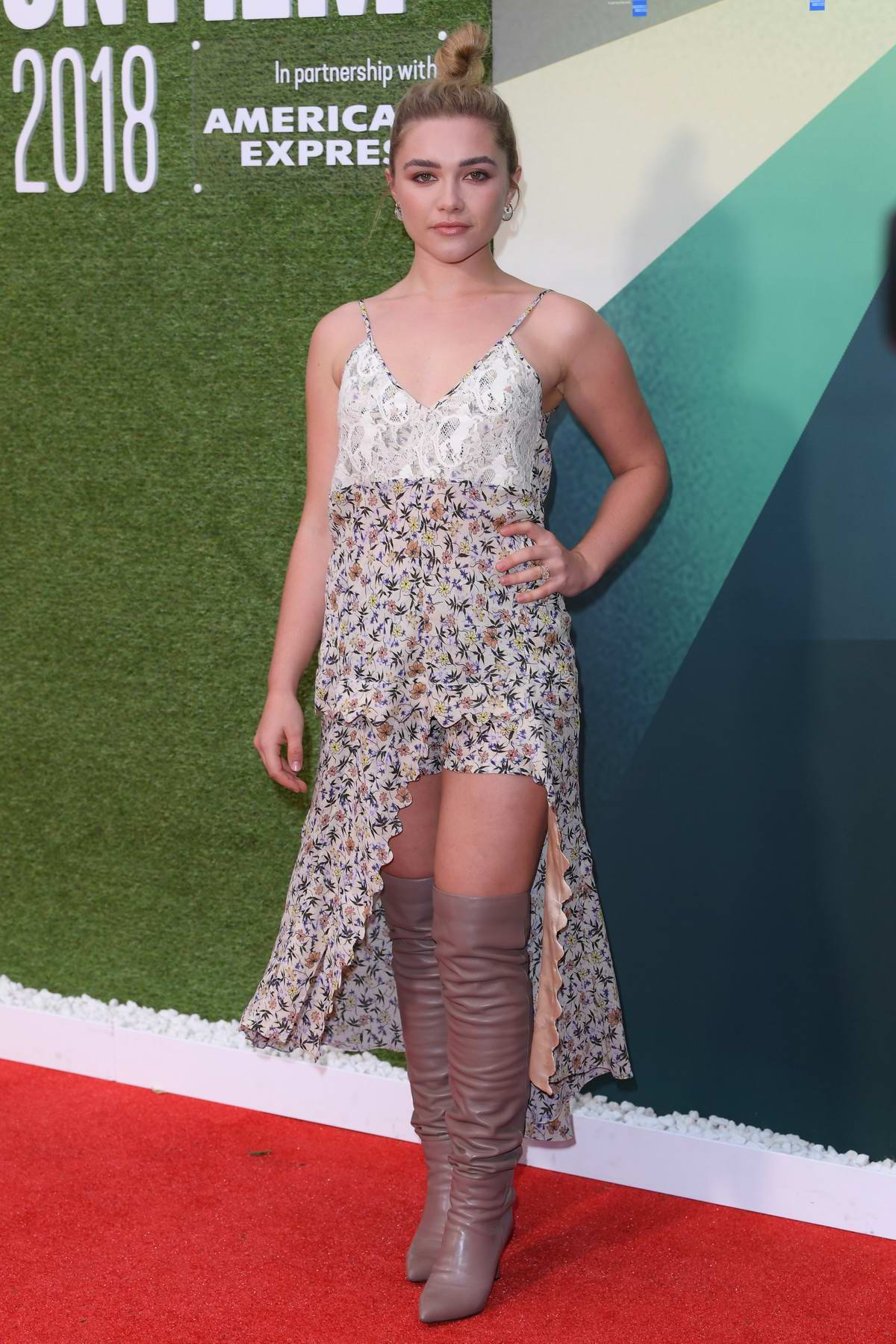 Florence Pugh attends the 'Little Drummer Girl' premiere during 62nd BFI London Film Festival in London, UK