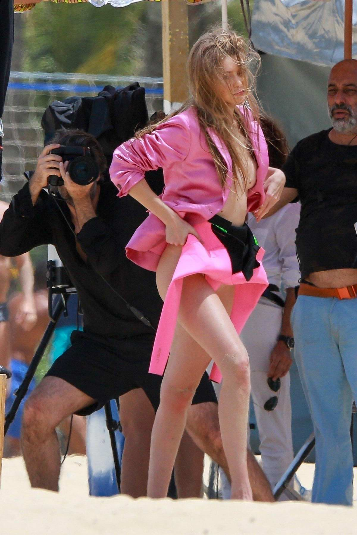 Gigi Hadid rocks all pink during a photoshoot in Rio, Brazil