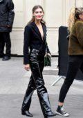 Grace Elizabeth seen leaving the Chanel Show during Paris Fashion Week in Paris, France