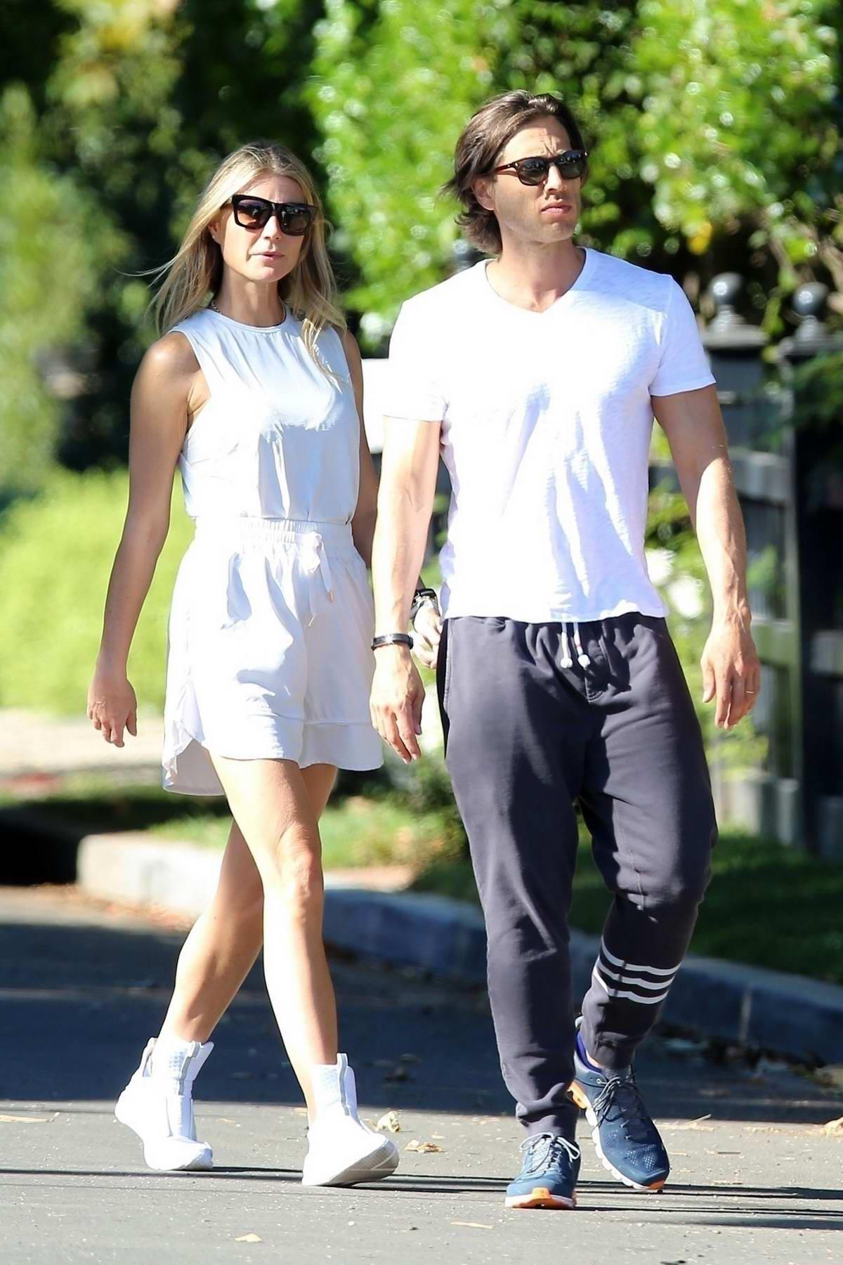 Gwyneth Paltrow and husband Brad Falchuk enjoys a romantic stroll in Santa Monica, California