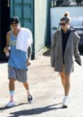Hailey Baldwin wears an oversized blazer as she heads out for lunch with Justin Bieber in Studio City, Los Angeles