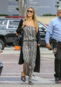 Heidi Klum wearing snakeskin print dress as she arrives to tape 'America's Got Talent' in Los Angeles