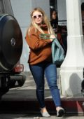 Hilary Duff stops by to pick up some food to-go at Joan's On Third in Studio City, Los Angeles
