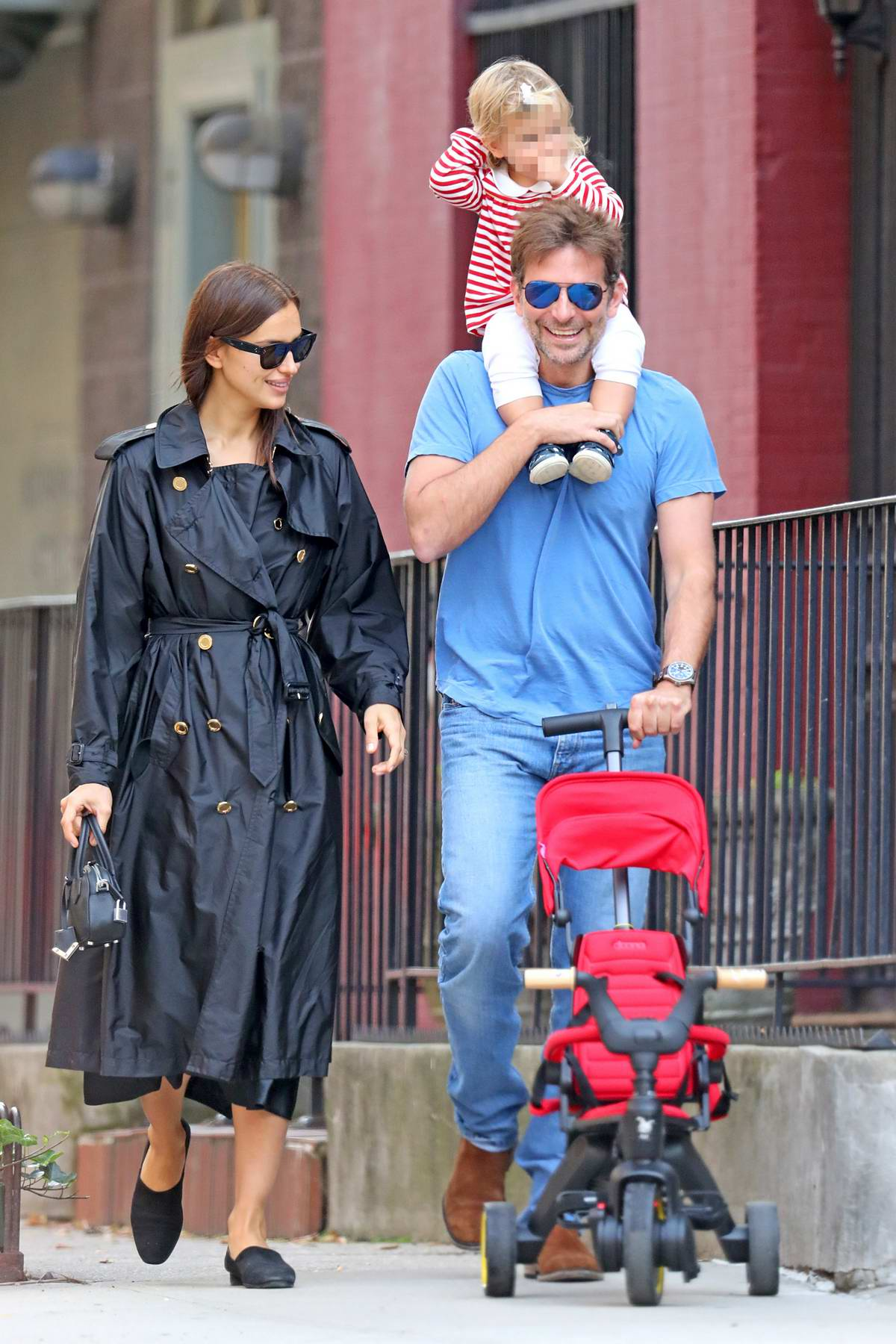 Irina Shayk and Bradley Cooper leaving Cafe Cluny after brunch with their daughter, New York City