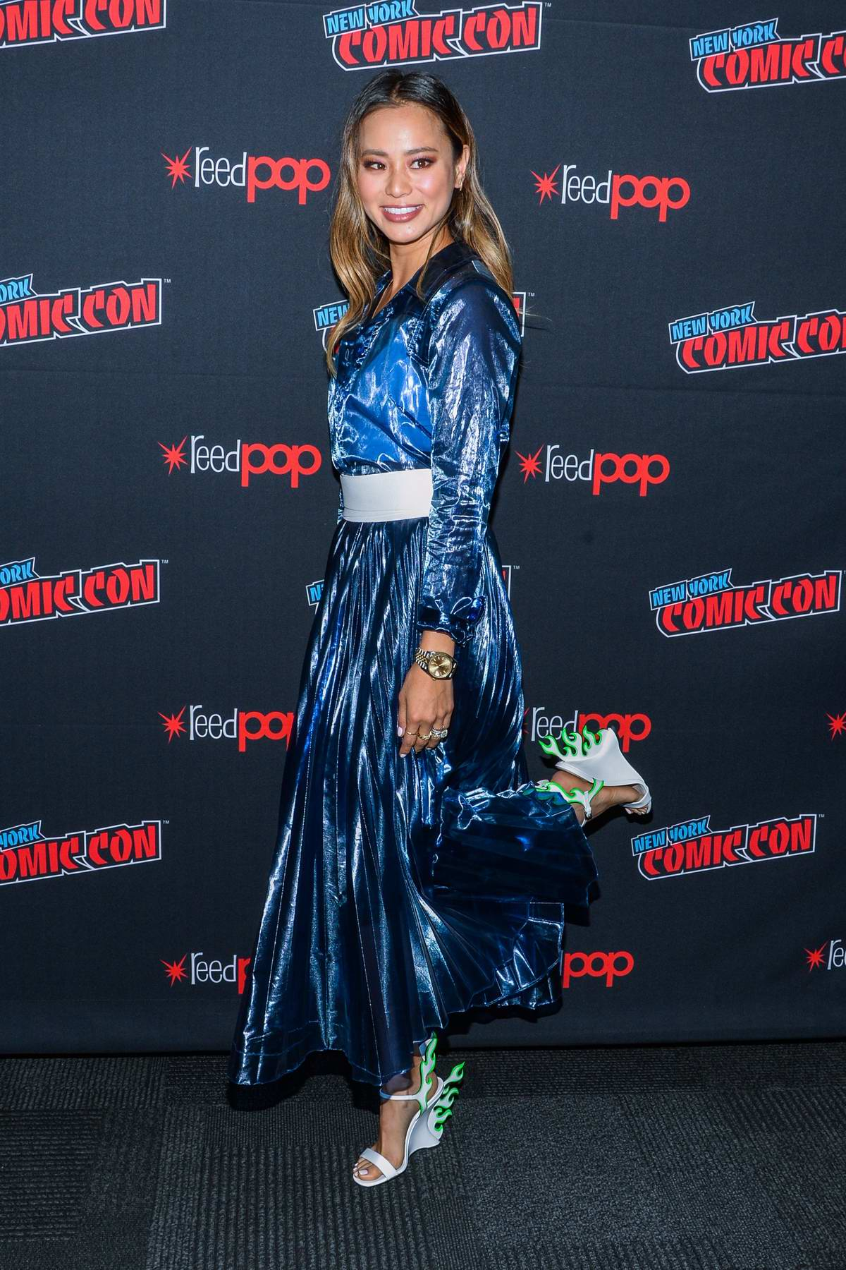 Jamie Chung attends 'The Gifted' photocall during New York Comic Con 2018 (NYCC 2018) in New York City