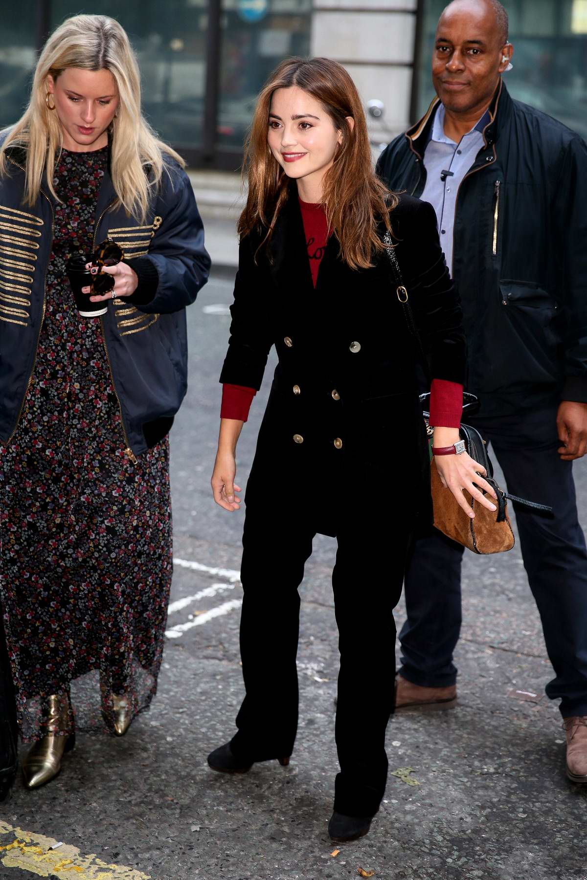 Jenna Coleman arrives to promote her new TV show 'The Cry' at BBC Radio 2 studios in London, UK