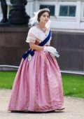 Jenna Coleman seen while filming a scene on the set of 'Queen Victoria' in Liverpool, UK