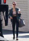 Jenna Dewan spotted in a camo jacket, pink sports bra with black leggings and green Nike trainers as she leavers the gym in Los Angeles