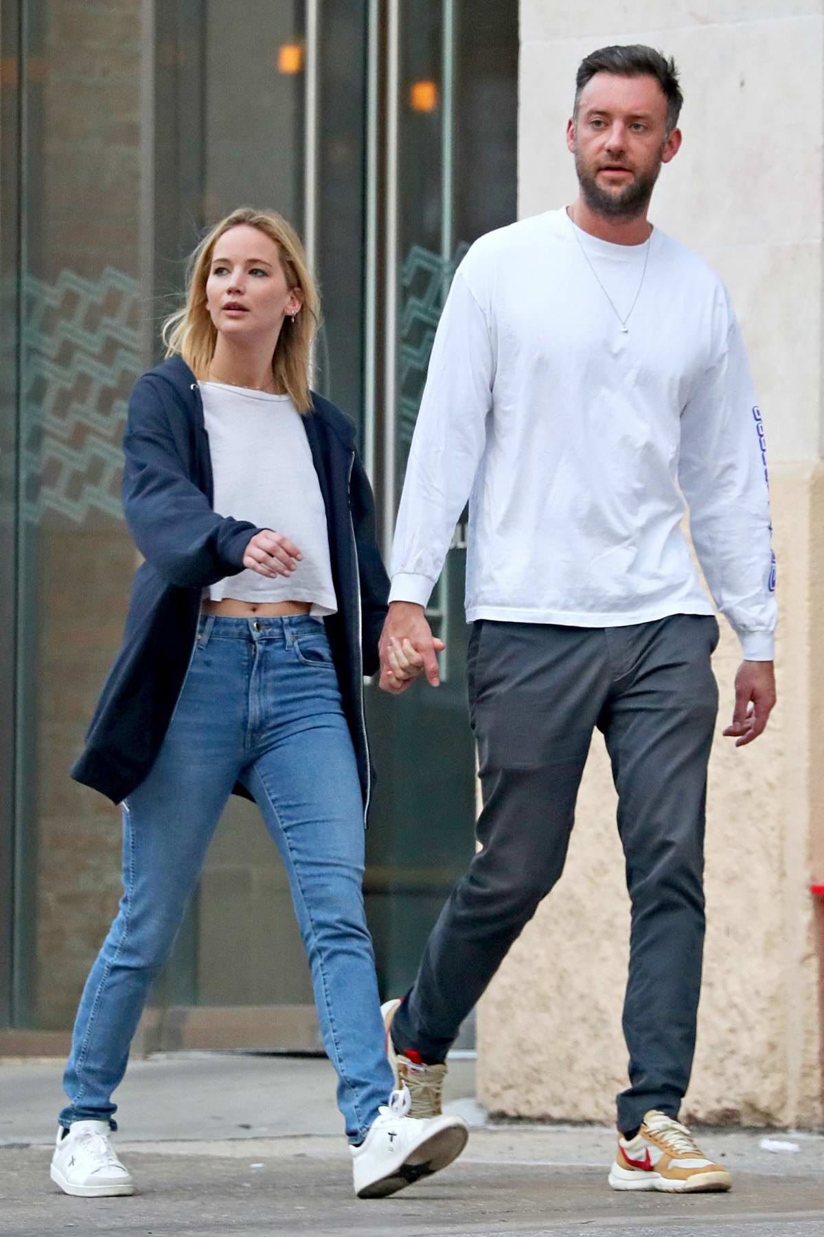Jennifer Lawrence and Cooke Maroney stops by for matcha while out on stroll in New York City