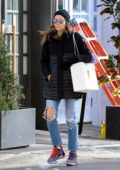 Jessica Biel steps out in a black jacket, ripped jeans paired with cool Nike sneakers while running errands New York City