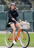 Jessica Stroup tries her hand at tennis and goes for a ride on her beach cruiser in Los Angeles
