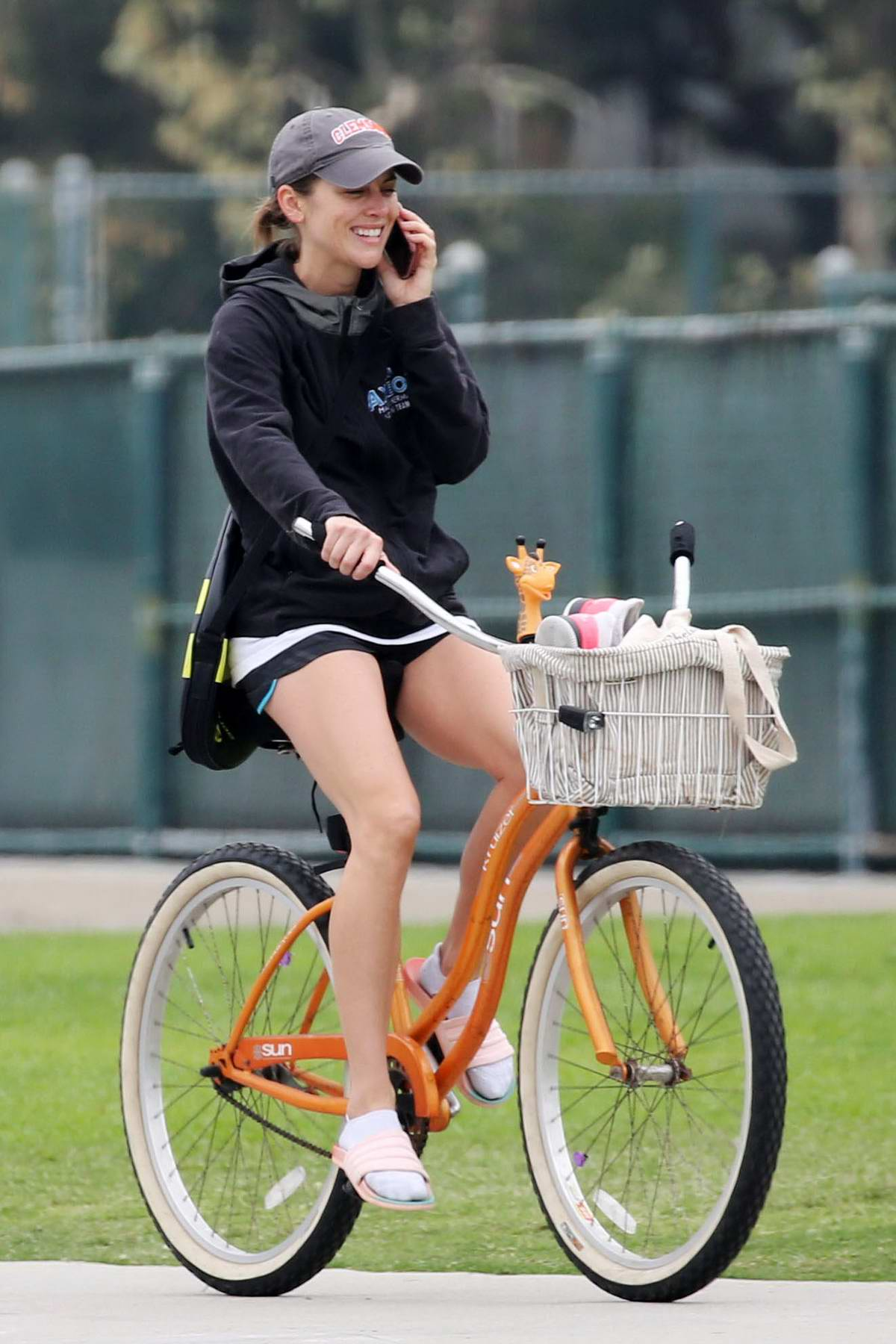 Jessica Stroup Tries Her Hand At Tennis And Goes For A Ride On Beach Cruiser In Los Angeles